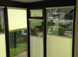 INTU multi-zone pleated blinds fitted in a conservatory in Sidmouth.